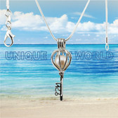 SILVER PLATED Lucky Key Cage Pendant Necklace