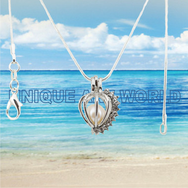 Pearl Necklace Hollow, with Rhinestone, Heart Charm  cage
