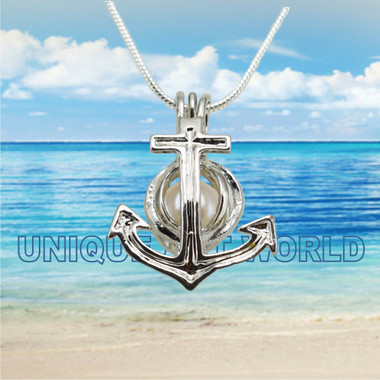 Pearl Charm SILVER PLATED Lucky Anchor Cage Pendant Necklace