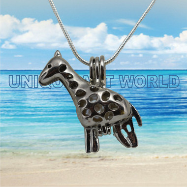 Pearl Charm SILVER PLATED Giraffe Cage Pendant Necklace