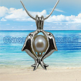 Pearl Cage SILVER PLATED Dolphin Heart charm Necklace