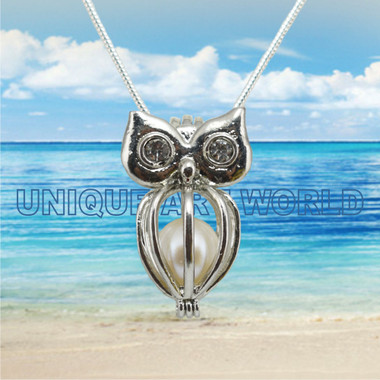 Pearl Cage SILVER PLATED Owl charm Necklace