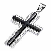 316L Stainless Steel Black IP Cross on Maze Tribal Cross Pendant with a Chain