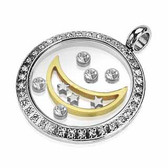 Stainless Steel Gemmed Round Glass Pendant with Floating Moon and CZ with a chain