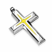 316L Stainless Steel PVD Gold Star Centered Cross Pendant with a Chain