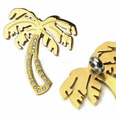 PVD Gold over 316L Stainless Steel Gem Paved Palm Tree Pendant with a Chain