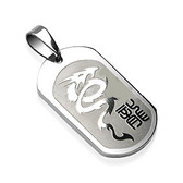 316L Surgical Steel Dragon Engraved Pendant with a Chain