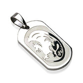 316L Surgical Steel Dragon Engraved Pendant with a Ball Chain