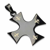 316L Surgical Steel Black Plated Celtic Cross w/Tribal Inlay Pendant with a Chain