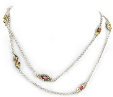 Konstantino Sterling Silver and Rhodolite 8-Unit Chain Necklace