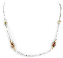 Konstantino Sterling Silver and Rhodolite 2-Unit Necklace