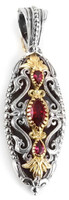 Konstantino Sterling Silver and Rhodolite Ornate Elongated Oval Pendant