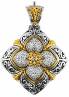 Konstantino Pave Diamond Sterling Silver and Yellow Gold Pendant