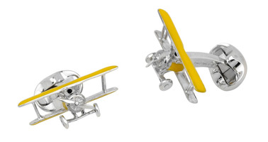 Deakin & Francis Silver Bi-Plane Cufflinks with Rotating Propeller