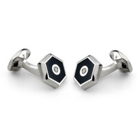 Deakin & Francis Hexagonal Silver Cufflinks with Onyx and Diamond