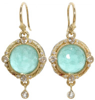 Armenta Green Turquoise and Diamond Carved Round Drop Earrings