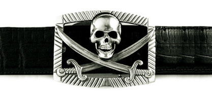 Jeff Deegan Sterling Silver Jolly Roger Buckle
