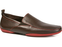 Michael Toschi Driving Shoes Onda Chocolate with Red Sole