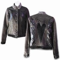 Kippy's Metal Heart Jean Jacket with Persian Lamb Collar