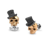 Deakin & Francis Rose Gold Skull with Black Spinel Top Hat Cufflinks
