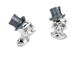 Deakin & Francis Silver Skull with Top Hat Cufflinks