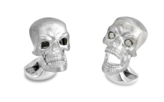Deakin & Francis Silver Skull Cufflinks with Moving Jaw and Diamond Eyes