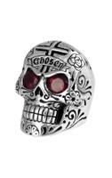 King Baby Studio Large Skull Ring with Chosen Cross Detail and Garnet Eyes