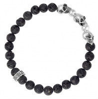 King Baby Studio Lava Rock Bead Bracelet with Three Skulls