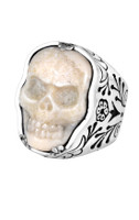 King Baby Studio Carved Fossilized Ivory Skull in Silver Frame Ring