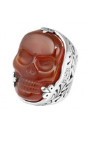 King Baby Studio Red Agate Classic Skull Ring