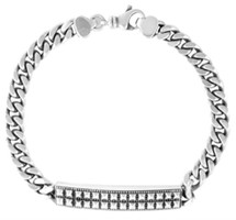 King Baby Studio Curb Link ID Bracelet with Pyramids