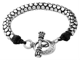 King Baby Studio Leather and Silver Snake Link Bracelet