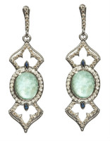 Armenta New World Turquoise Oval Open Cross Earrings