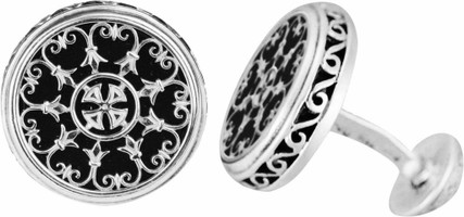 Konstantino Sterling Silver and Onyx Carved Cufflinks