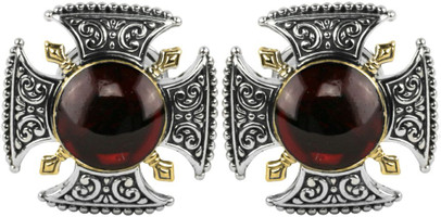Konstantino Sterling Silver and 18K Gold Garnet Cufflinks