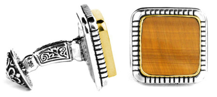 Konstantino Sterling Silver and 18K Gold Tiger's Eye Cufflinks