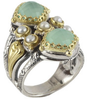 Konstantino Amphitrite Collection Sterling Silver & 18K Vertical Stone Ring