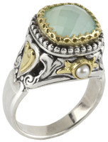 Konstantino Amphitrite Collection Sterling Silver & 18K Gold Heart Detail Ring