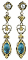 Konstantino Amphitrite Collection Sterling Silver & 18K Gold Drop Ornate Earring