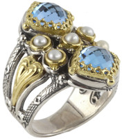 Konstantino Amphitrite Collection Sterling Silver & 18K Swiss Blue Topaz Vertical Ring