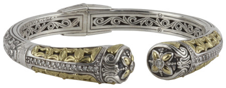 Konstantino Asteri Collection Sterling Silver & 18k Gold Hinged Ornate Bracelet