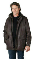 Remy Men's Hip Length Leather Jacket Rodeo/Cocoa