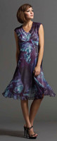 Komarov V-Neck Cap Sleeve Dress in Purple Madeira