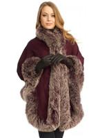 Aubergine Cashmere Capelet With Snowtop Fox Trim