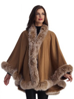 Camel Cashmere Cape with Fox Trim