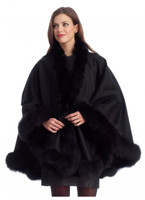 Black Cashmere Cape with Fox Trim