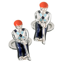 Jan Leslie Sterling Silver Golfer Cufflinks