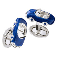 Jan Leslie Sterling Silver Blue Convertible Car Cufflinks