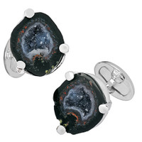Jan Leslie Sterling Silver Drusy Crystallized Agate Cufflinks