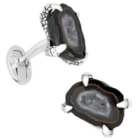 Jan Leslie Sterling Silver Drusy Crystallized Agate Claw Cufflinks